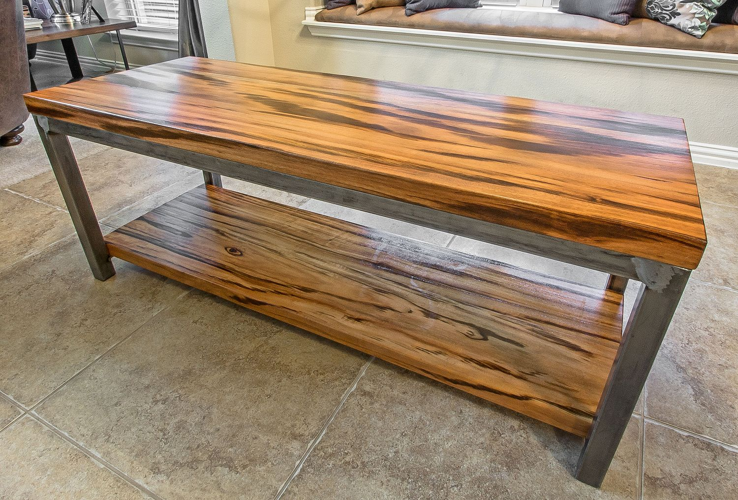 Tigerwood solid hardwood tables furniture for Hardwood furniture