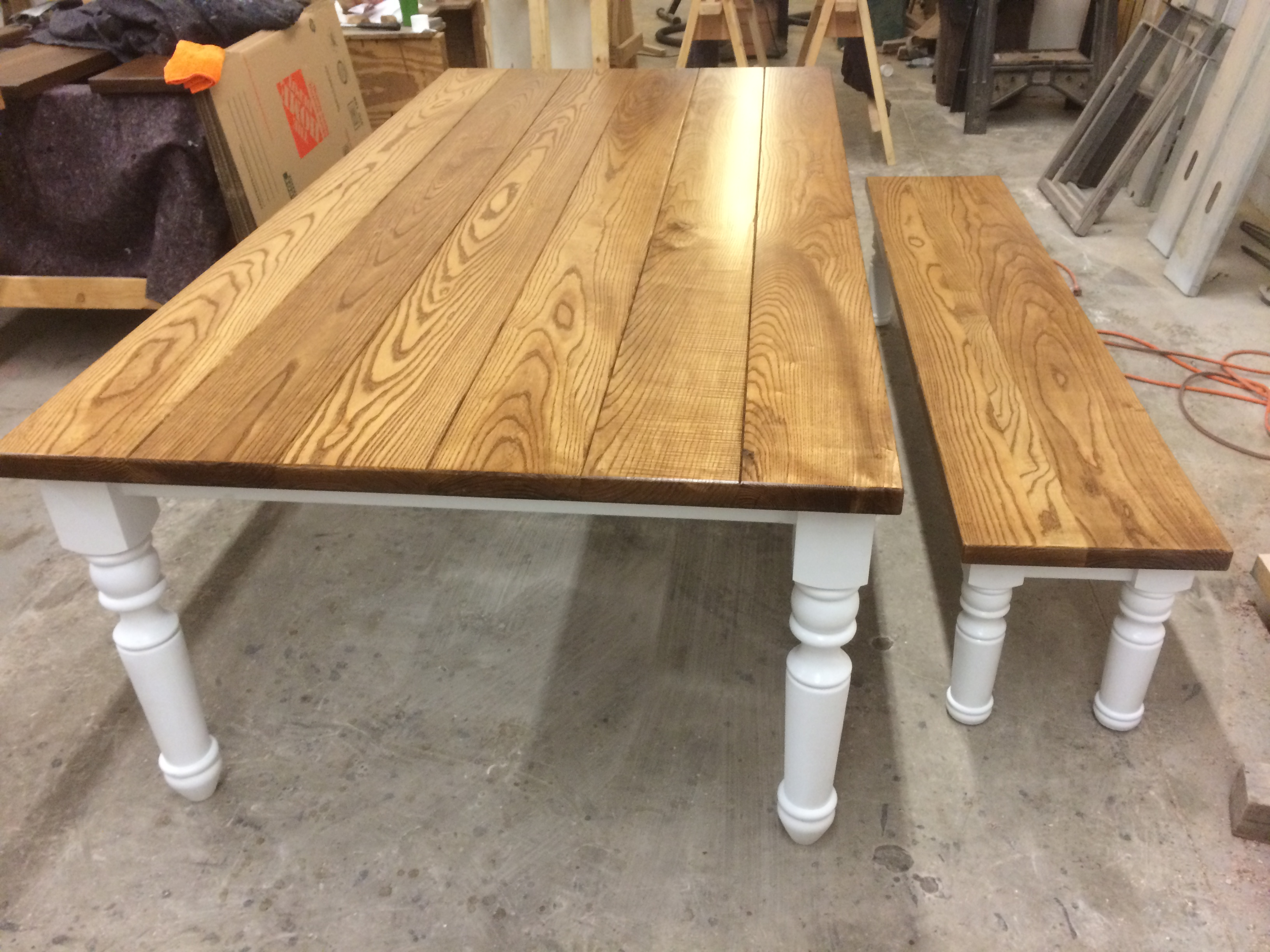 Ash Farmhouse Table With Turned Legs Ks Woodcraft