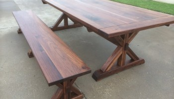 Walnut Expandable Trestle Table