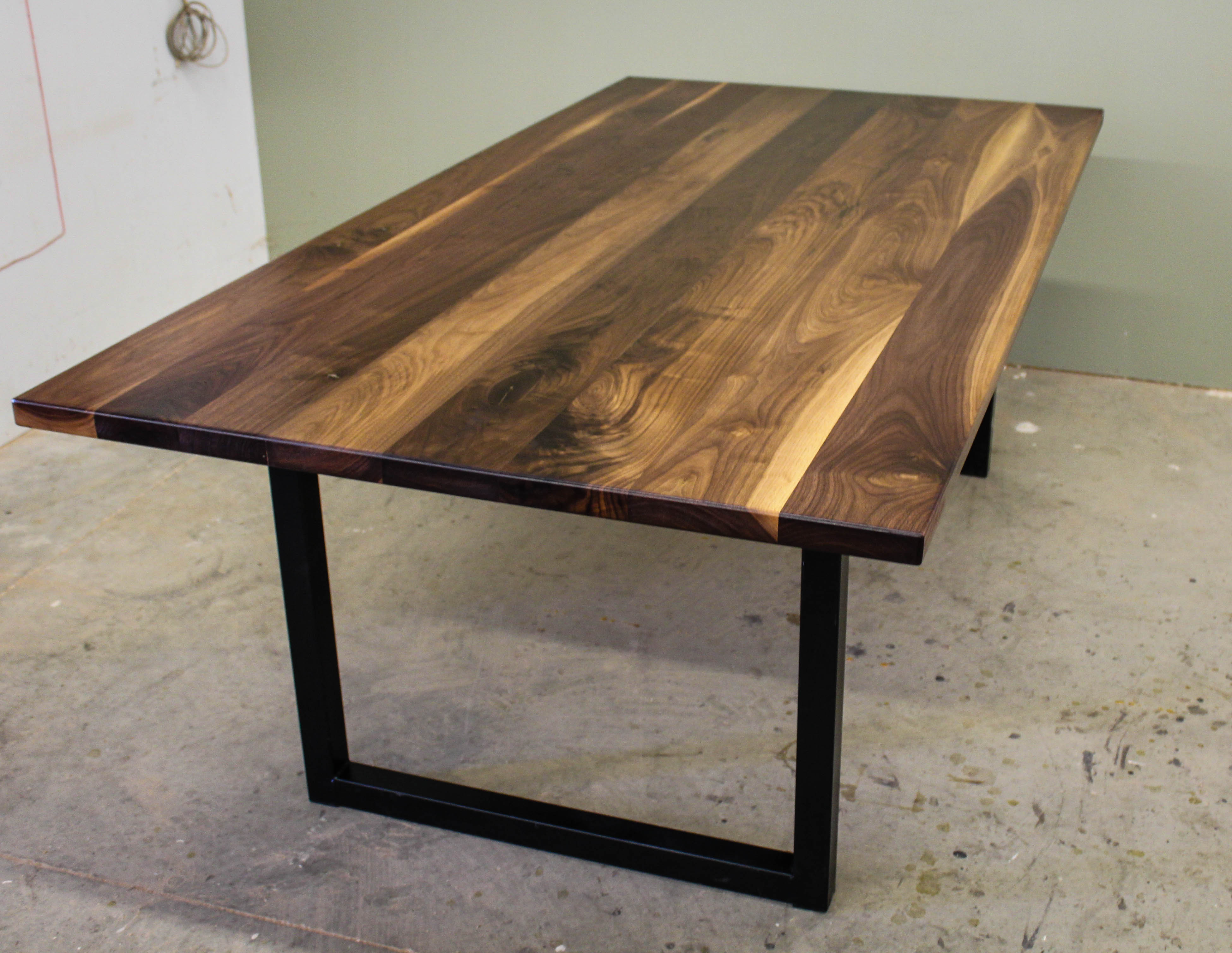 black walnut modern industrial table ks woodcraft. Black Bedroom Furniture Sets. Home Design Ideas