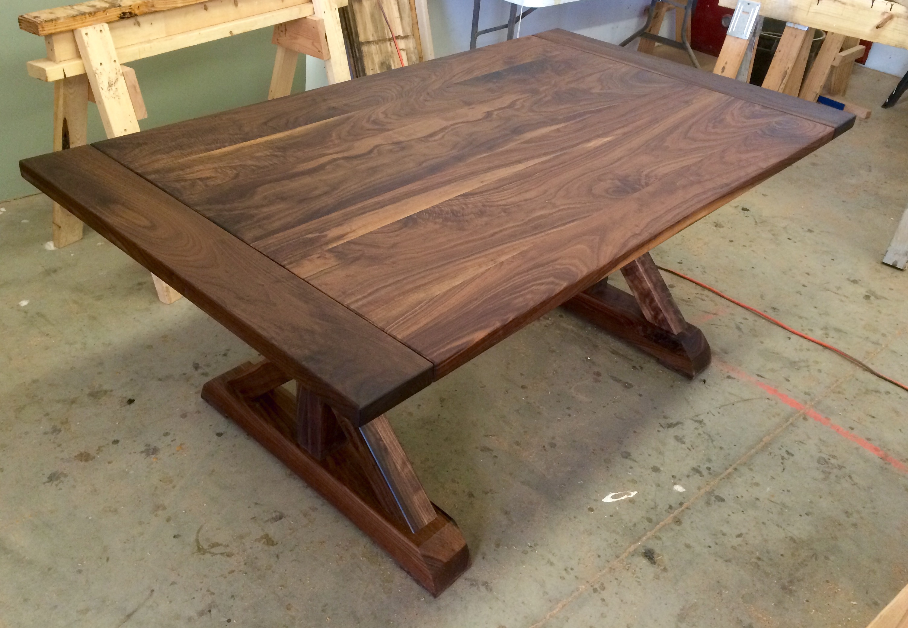 Black Walnut Traditional Trestle Table