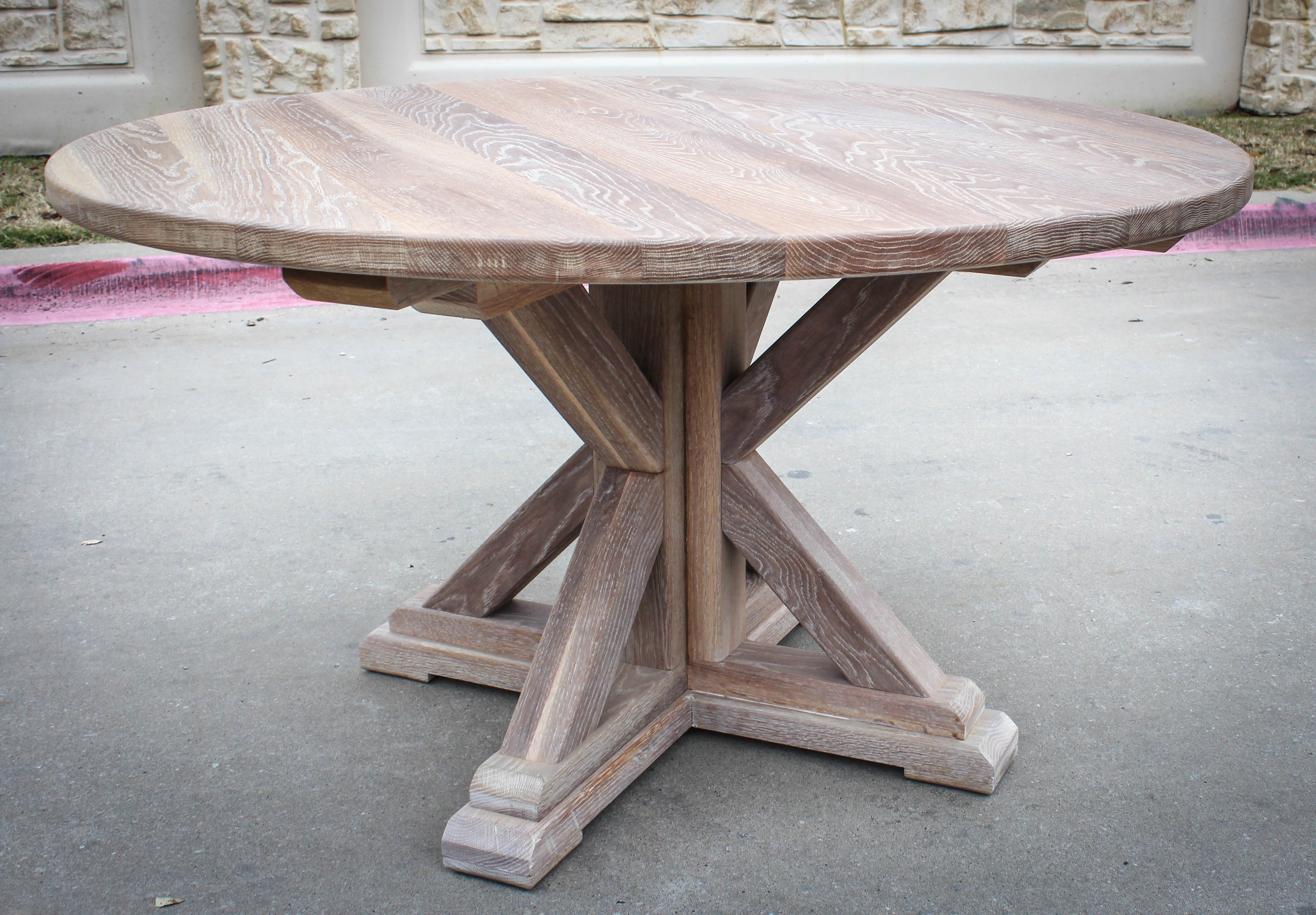 White Oak Round Table with Toast Coloring System - 6 | KS ...